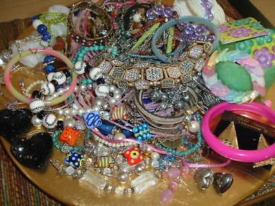75 Piece Large Lot Of Vtg To Now Estate Jewelry, Some Signed, Necklaces, Rings