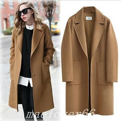 Womens Lapel Collar Wool Cashmere Blend Overcoat Mid Long Parka Jacket Plus Size