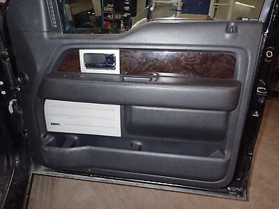 13 14 FORD F150: Right Front Door Trim Panel, Platinum, Leather, Wood; Black 9B