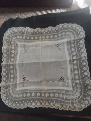 Elegant Vintage Off  White Bridal Wedding Hankie~French Lace~Irish Linen 1800's