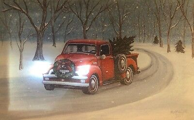 Truck LED Light Up Lighted Canvas Painting Picture Wall Art Home Office Decor