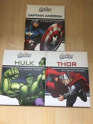 3 Marvel Avengers Origin Story Books Hulk, Captain America and Thor -Kids Books