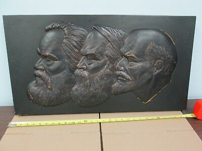 RARE 3ft East German Plaque MARX ENGELS LENIN DDR Soviet Germany Russia