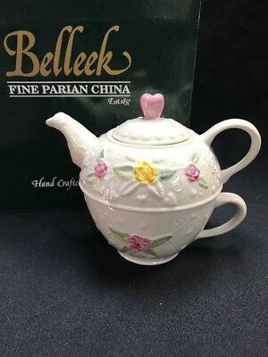 Belleek Hearts & Roses Tea for One Set #1692 New in Box MINT