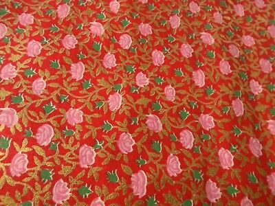 Vintage Fabric - Cotton, 35 inche wide, Roses and Gold Metallic Leaves and Vines