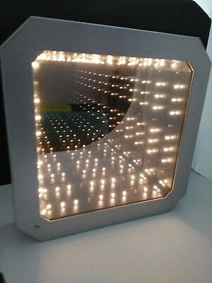 Vintage Mid Century Modern Infinity Mirror Lamp Tunnel Light Wall