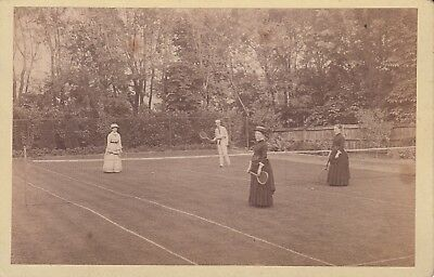 Cabinet Photo - Man and three women playing Tennis