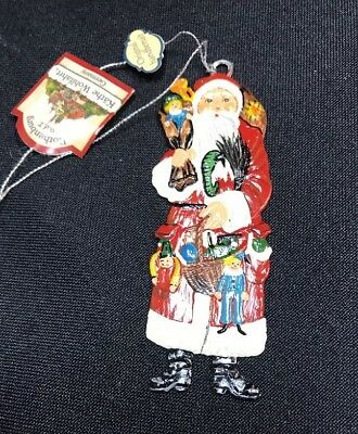 Rothenburger Kathe Wohlfahrt Metal Santa Ornament w/Tag Germany New