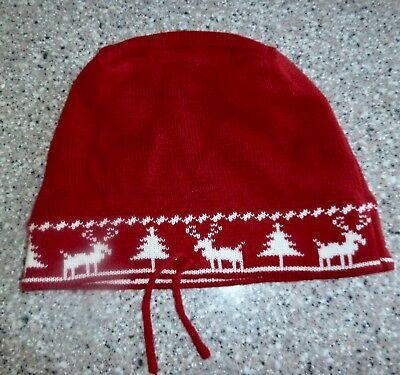 Red Nortic REINDEER, Christmas Tree Knit Beanie, Hat, Adult Size, Adjustable