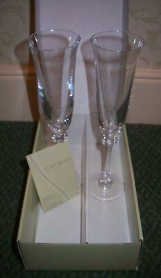 Galway Irish Crystal Liberty Champagne Flute - Pair - New - Boxed