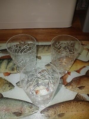 Set of 3 Small Crystal Tumbler Glasses. Whisky Spirit Glasses.