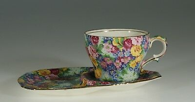 "Royal Winton ""Julia""  Chintz Tennis Snack Set, England c. 1939"