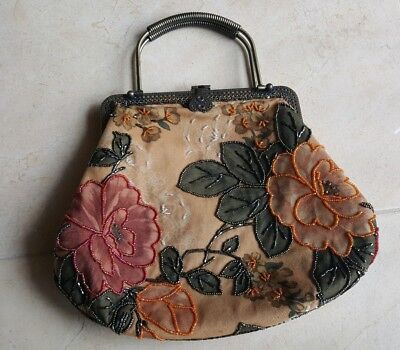Vintage Handmade Unique Victorian Style Beaded Floral Handbag Purse