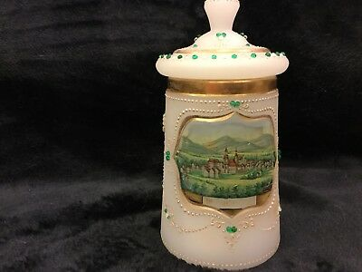 Antique Glass Beer Stein Ornate Detailed