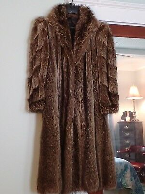 Vintage Real Fur Full Length Raccoon Coat M 8/10 Made In Canada