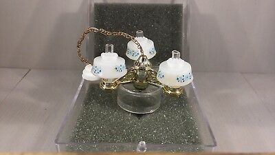 Chrysolite Electrical Dollhouse Gold And Milk Glass Look Floral Chandelier Nip