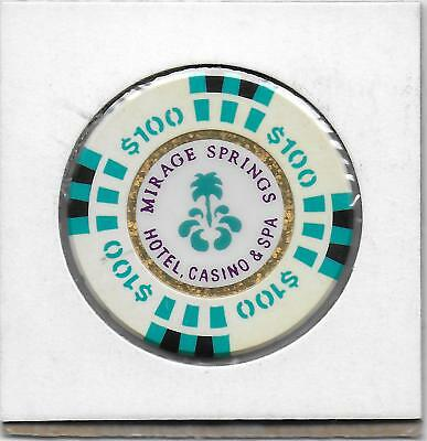 $100 Oversized Casino Chip From MIRAGE SPRINGS CASINO-Desert Hot Spgs. Ca. M2650