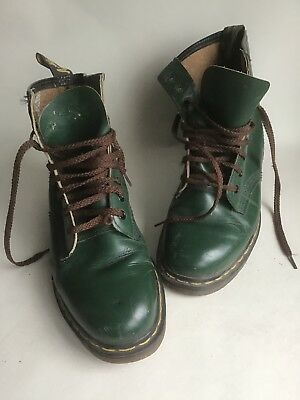 Original Vintage 8 Hole Green Leather Doctor Marten Boots Size UK 7