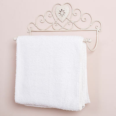 Wall Mounted Towel Rail Heart French Antique White Shabby Chic Vintage Style