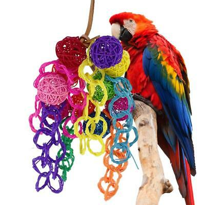 Colorful Sepak Takraw Parrot Bird Toys Chewing Bite Hanging Cage Swing Climb Toy