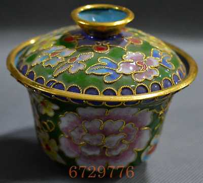 China Collectable Old Cloisonne Carve Flower Ancient Rare A Set Tea Lucky Cup
