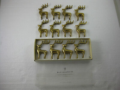 12 pottery barn reindeer place card holders gold