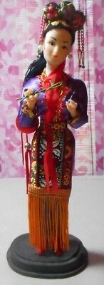 """Vintage - Asian Doll - 10"""" - Plastic - on stand - Souvenir Doll - China"""