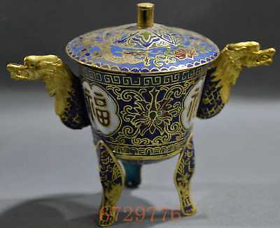 Collectable Handwork Decor Cloisonne Carve Dragon Ears Flower Auspicious Tea Cup