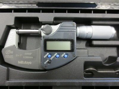 "Mitutoyo Digimatic No. 293-348 IP65 Coolant Proof Micrometer 0-1"" .00005""/.001mm"