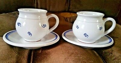 2 Blue and White Polish Pot Belly/Bubble Mugs with Saucers