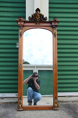 Fabulous Walnut Victorian Pier Mirror with Ansonia Head Crown ~ Ca.1870