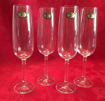 Set Of 4 Bohemia Flutes-180ml- Fine Crystal- Isabelle By Import Associates