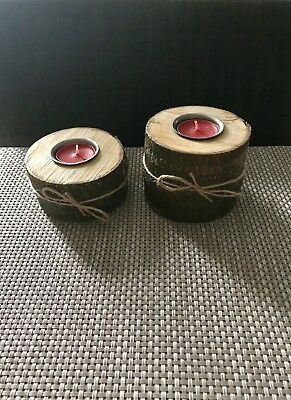 Two Rustic candle holders natural wood handmade for Tea Light Candles.