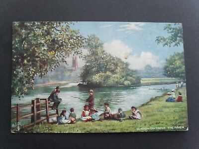 Vintage Edwardian Postcard. The River, Burton-On-Trent. Oilette Series. Posted.