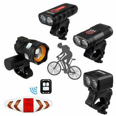 Bike Bicycle Cycling Head Front Rear Lights MTB Zoom Lamp USB Rechargeable Set