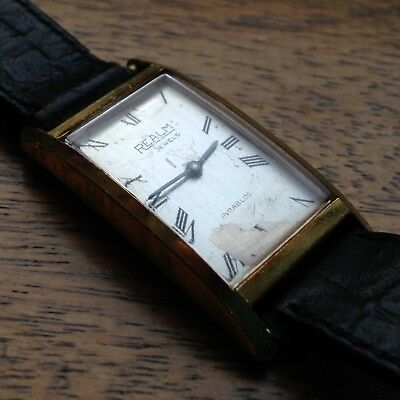 Beautiful Antique Art Deco Style Gold Plated REALM 20mm Dress Watch - WORKING