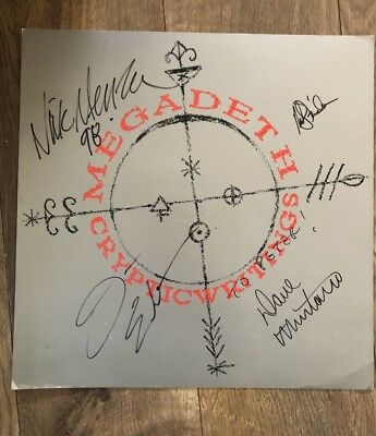 megadeth cryptic writing Flat Signed My All 4 Members.