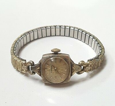 Antique 10K Gold Filled Longines Small Stretch Band Ladies Wrist Watch