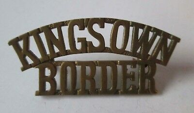 BRITISH ARMY BRASS military METAL SHOULDER TITLE - KING'S OWN BORDER