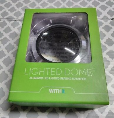 New WITHit Lighted Dome Magnifier - Aluminum LED Lighted Reading Magnifier Black