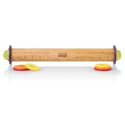Joseph Joseph Adjustable Rolling Pin Dough Wood Nonstick Kitchen Cooking Tool