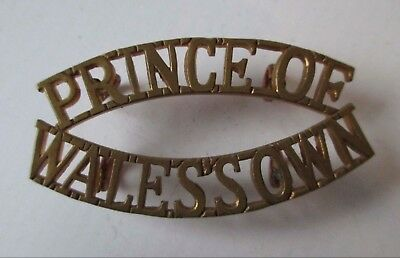 BRITISH ARMY BRASS military METAL SHOULDER TITLE - PRINCE OF WALES OWN