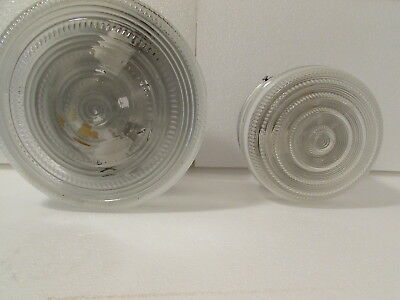2 Vintage Light Globe Frosted Pressed Glass Art DECO Style Ceiling 9 & 6 inch