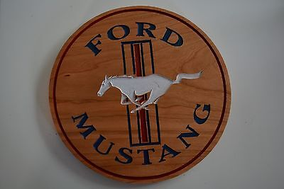 Ford Mustang Cherry Wood Sign American Made Home Made