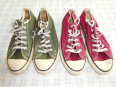 683531ccdb99b6 Lot 2 Vintage Converse Chuck Taylor Green Red Maroon Size 7 Made USA Lo Low  Top