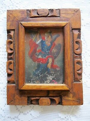 Original Antique Retablo On Tin With The Image Of Archangel Michael Great Frame
