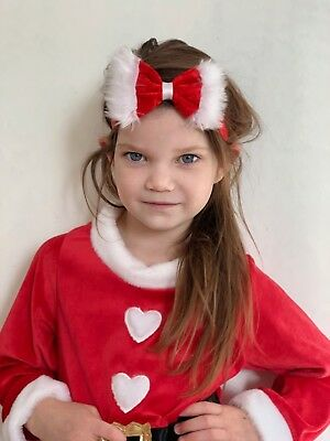 Baby Girl Headbands Santa Bow With Fur Santa Dress Red Newborn Baby Girls bows