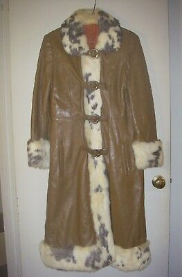 Vintage 70's Leathercraft brown leather /rabbit fur full length women's coat