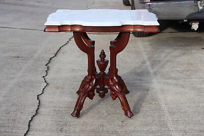 Fancy Ornate Walnut Victorian Marble Top Parlor Center Table with Hoof Feet