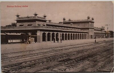 Postcard-Multan-Punjab-India-Railway-Train Station-British Raj-Sikh-Colonial